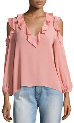 Alice + Olivia Gia Cold-Shoulder Ruffle Blouse $225 thestylecure.com