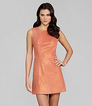Gianni Bini Shane Metallic Leather Dress