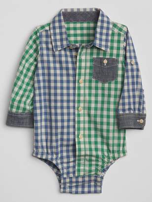 Gap Plaid Blocking Bodysuit in Poplin