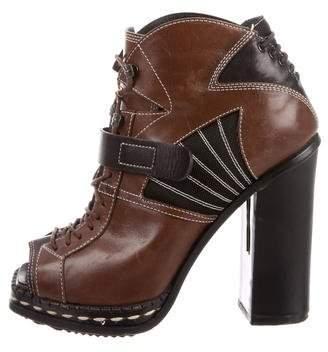 Proenza Schouler Leather Peep-Toe Booties