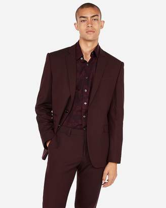 Express Slim Burgundy Oxford Stretch Wool- Blend Suit Jacket