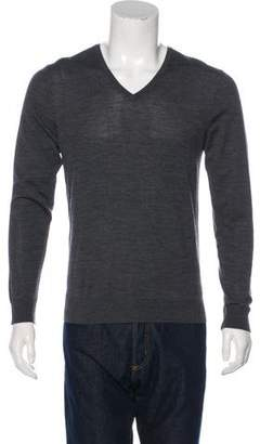 The Kooples Leather-Trimmed Wool V-Neck Sweater