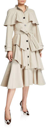 Osman Ruffle-Tiered Trench Coat