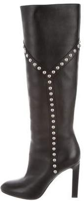 Saint Laurent Studded Knee-High Boots Black Studded Knee-High Boots