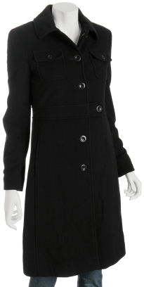 Kenneth Cole Reaction black wool military tab coat