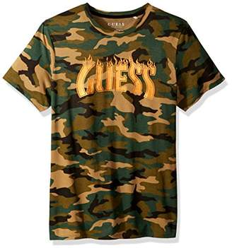 GUESS Men's Short Sleeve Basic Fire Camo Crew Tee