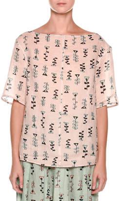 Marni Short-Sleeve Vine-Print Top