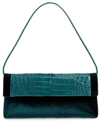 Nancy Gonzalez Gotham Genuine Crocodile & Velvet Clutch
