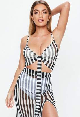 Missguided Black Striped Mesh Cami Tie Font Top