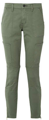 J Brand Cropped Stretch Cotton-blend Twill Skinny Pants - Army green