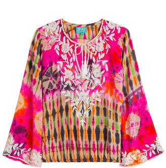 TAJ Embellished Tie-Dye Silk Top