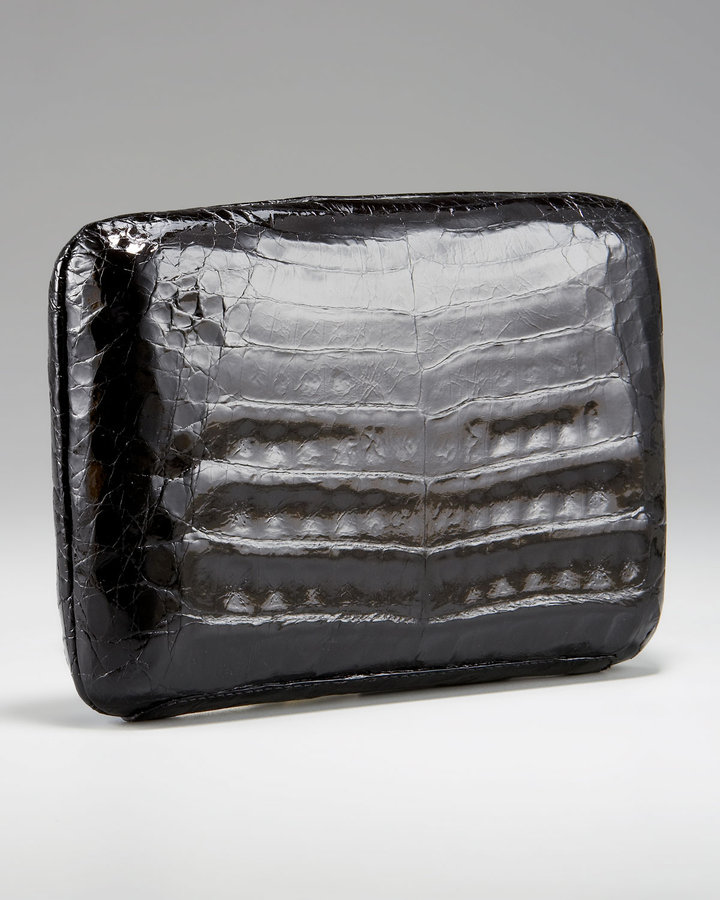 Nancy Gonzalez Shiny Croc Box Clutch