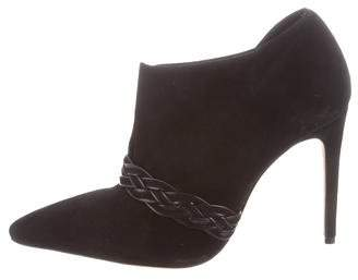 Alexandre Birman Braided Leather-Trimmed Suede Booties