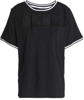 2044d47929 DKNY Appliqued Mesh-paneled Cotton-blend Jersey Pajama Top