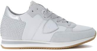 Philippe Model Tropez White Leather And Suede Sneaker With Micro Studs