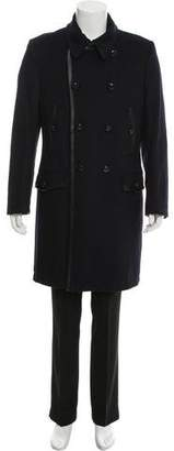 Dolce & Gabbana Leather-Trimmed Virgin Wool Coat