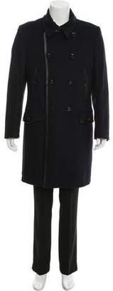 Dolce & Gabbana Leather-Trimmed Virgin Wool Coat