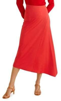MANGO Asymmetric Flared Midi Skirt