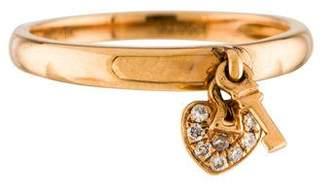 Ring 18K Diamond Heart & Key Dangle