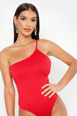 boohoo Scuba One Shoulder Strap Bodysuit