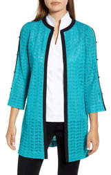 Ming Wang Button Detail Long Cardigan