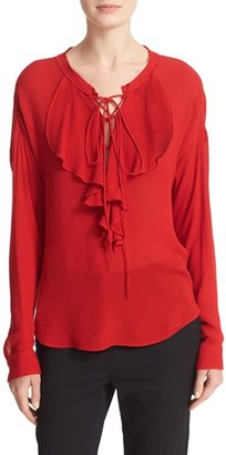 Women's The Kooples Lace-Up Silk Ruffle Blouse $295 thestylecure.com