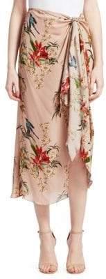 Johanna Ortiz Silk Floral Knot Midi Skirt