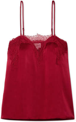 CAMI NYC The Sweetheart Lace-trimmed Silk-charmeuse Camisole - Red