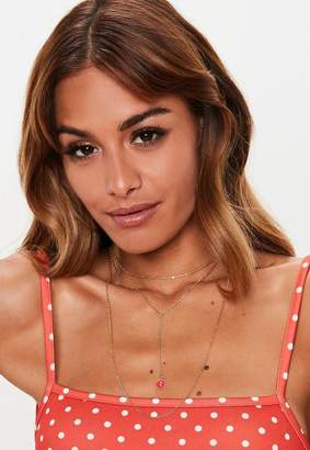 Missguided Gold Layered Heart Charm Necklace