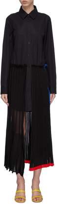 Sonia Rykiel Panelled pleated wool knit skirt shirt dress