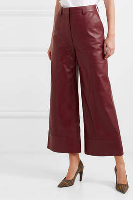 Dodo Bar Or Magen Leather Wide-leg Pants - Burgundy