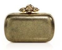 Alexander McQueen Alexander McQueen Skull Metallic Leather Box Clutch