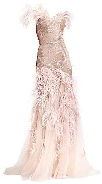 Marchesa Women's Off-The-Shoulder Feather Gown