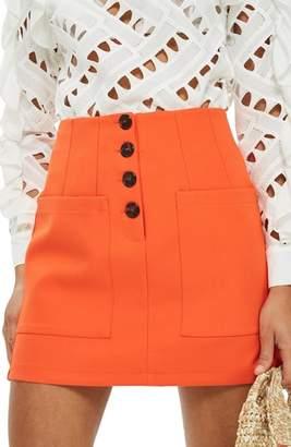 Topshop Pocket Button Miniskirt