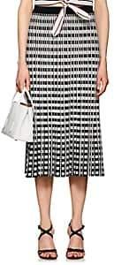 Derek Lam 10 Crosby Women's Checkerboard Pleated Midi-Skirt-Black