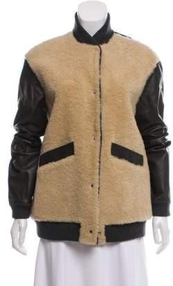 Marni Leather & Shearling Bomber Jacket