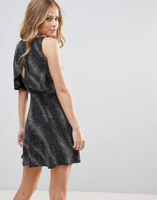 Oh My Love Open Back Skater Dress With Overlay