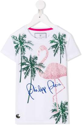 Philipp Plein Junior TEEN flamingo embellished T-shirt