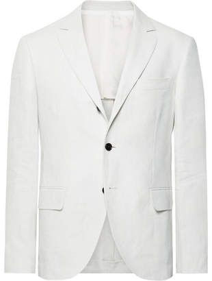 Piombo MP Massimo White Slim-Fit Linen Suit Jacket