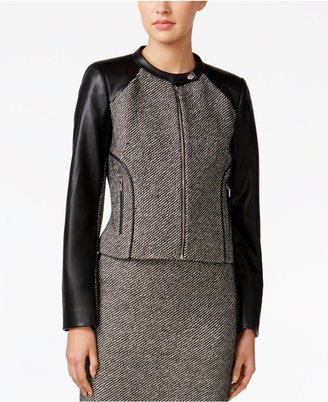 Calvin Klein Faux-Leather Tweed Moto Jacket $149 thestylecure.com
