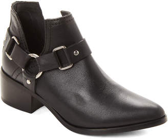 Steve Madden Steven By Black Lee Harness Leather Ankle Booties