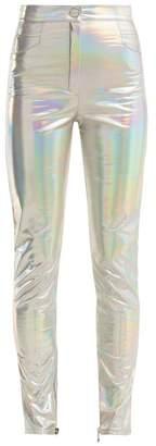 Balmain High Rise Skinny Hologram Trousers - Womens - Silver