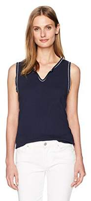 Three Dots Women's Contrast Stitch Heritage Rib Split Neck Tank