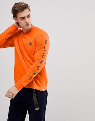 Element Long Sleeve T-Shirt With Sleeve Print In Orange