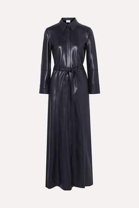Nanushka Taurus Vegan Leather Maxi Dress - Navy