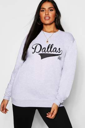 boohoo Plus Dallas Slogan Sweat