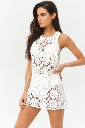 713823c3b1c255 at Forever 21 · Forever 21 Sheer Crochet Swim Cover-Up Dress