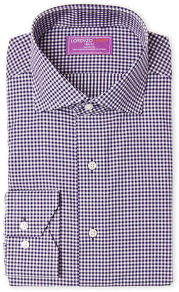 Lorenzo Uomo Purple Gingham Trim Fit Dress Shirt