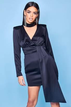 boohoo Premium Satin High Neck Draped Mini Dress