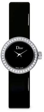 Dior D de Dior Diamond, Stainless Steel& Patent Leather Strap Watch